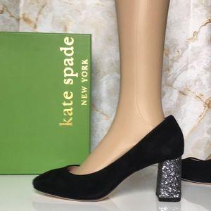 Kate Spade Black Kid Suede / Glitter Heels Pumps